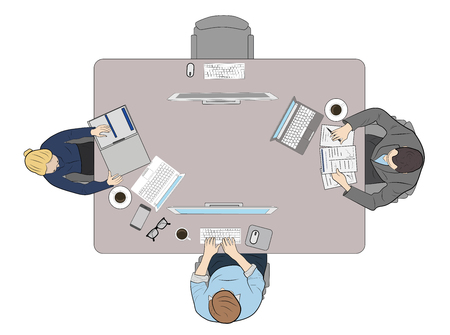 people behind the workplace. work at the computer. tools are spread out on the table. vector illustration. Illustration