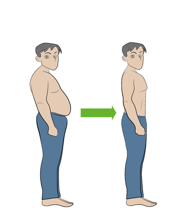 illustration of man's body before and after diet and exercise. Weight loss and fitness concept Vectores