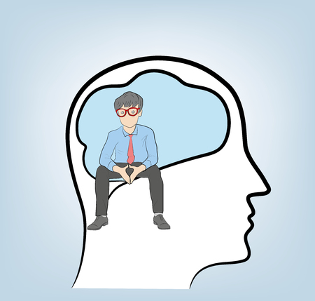 Thinker. A businessman sits in the head. vector illustration.