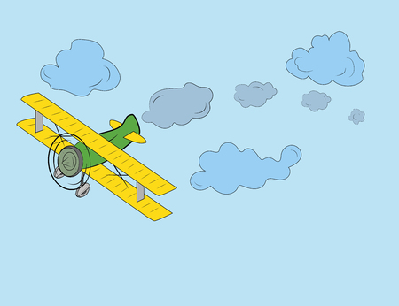 Plane flying in the sky, travel day, vector art and illustration.