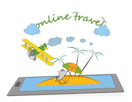 Illustration of island with palm trees, umbrella and airplane on top of smartphones screen. Online travel booking concept