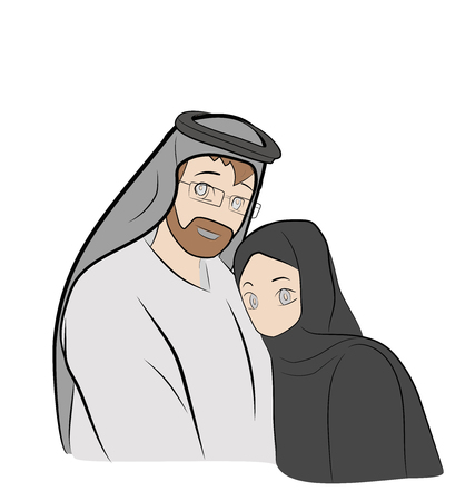 The Arab family. vector illustration.