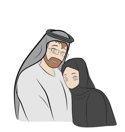 The Arab family. vector illustration.