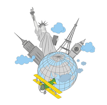 Concept of traveling around the world. World sights on the background of Earth. vector illustration.