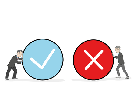 Little people holding true and false sign. Positive and negative feedback concept. Yes or No icons. Cartoon Vector Illustration.
