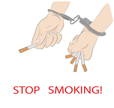 Cigarettes in hand, handcuffed. inscription: stop smoking. concept of smoking dependence. vector illustration. Categories: People, Health  Medicine.