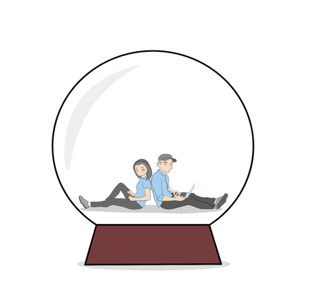 guy and girl are sitting in a bowl with their backs to each other communicating through gadgets. the concept of relations in the network. vector illustration. Illustration