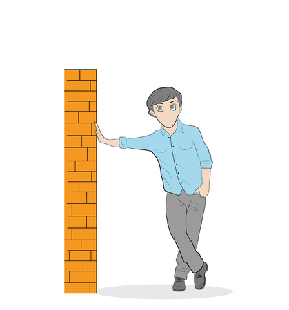 Man leaning against the wall vector illustration. Illustration
