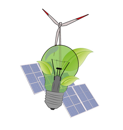 Logo eco. green lightbulb with leaves. against the background of solar panels and a wind generator. vector illustration. Illustration
