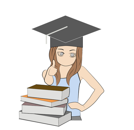 Girl on the background of books. concept of education. vector illustration.