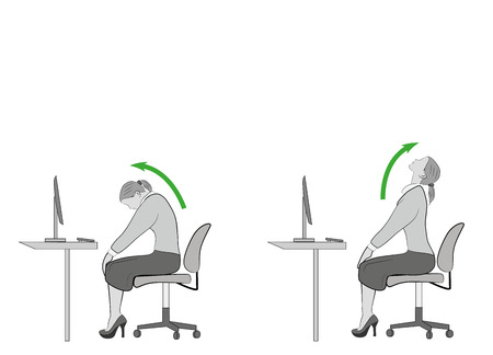 exercises for the neck and head. computer syndrome. vector illustration Vettoriali