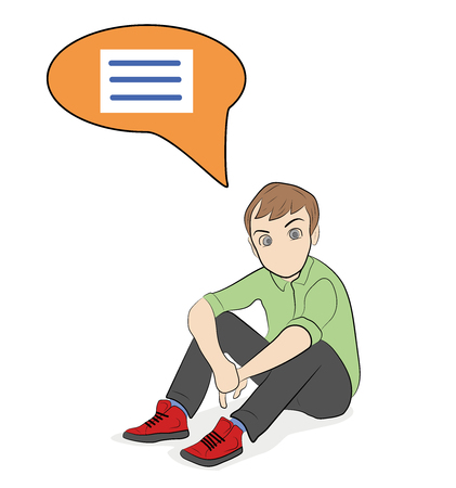 Man sitting with his thoughts in the form of a ball. vector illustration.