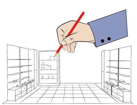 Hand draws. vector illustration Vectores
