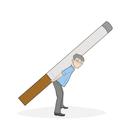 a man stands bent under the weight of a cigarette. concept of smoking dependence. vector illustration.