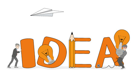Small people near the idea of a big word. Vector illustration of creative teamwork.