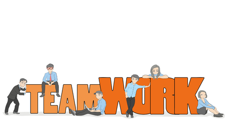 Sketch of working little people with big word Teamwork. Doodle cute miniature scene of workers. Hand drawn cartoon vector illustration for business design and infographic.