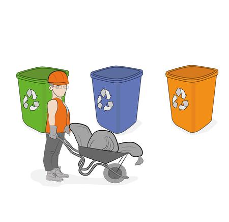 Men throw garbage sorting it. Building debris in different tanks. vector illustration.