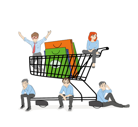 Little men are sitting in a shopping basket. Concept of shopping online. vector illustration. Illustration