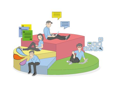 Segmenten in een cirkeldiagram. Percentage mensen dat mobiele apparaten gebruikt voor communicatie en werk. vectorillustratie