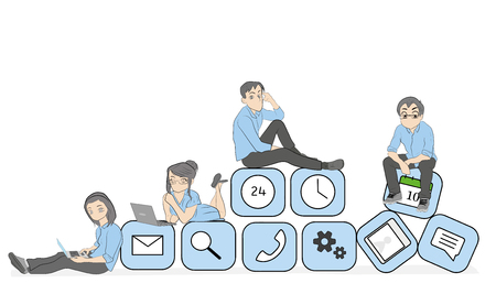 Young men and women sitting on a mobile phone using smartphone and laptop to read news and text messages for friends. Flat concept of application dependency. vector