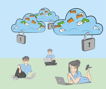 Cloud for storing information under lock and key. Illustration