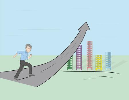 Un uomo che corre sulla freccia. illustrazione vettoriale