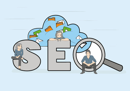 SEO concept vector illustration of people using laptops for developing and optimizing a website or mobile app. Flat modern design of young programmers coding a new project and analysing search engine