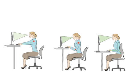 Correct sitting position at a desk