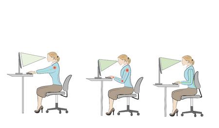 Juiste zitpositie aan een bureau