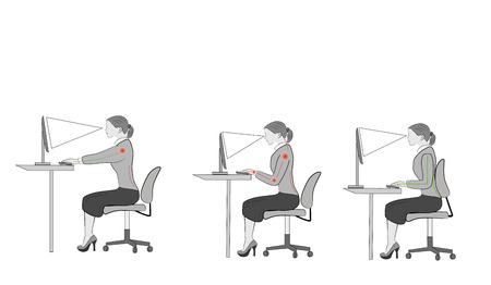 Correct sitting at a desk