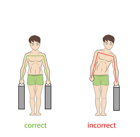 Correct and incorrect posture while carrying weight vector illustration. Illustration