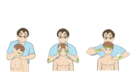 Head and neck massage vector illustration.