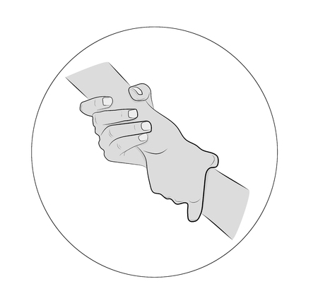 Illustration of two hands holding each other