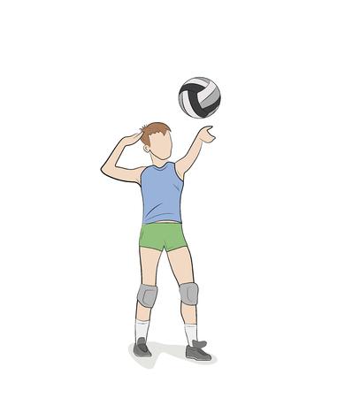 valleyball player isolated on white. vector illustration Illustration