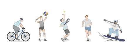 Set of people engaged in different kind of sports. vector illustration.
