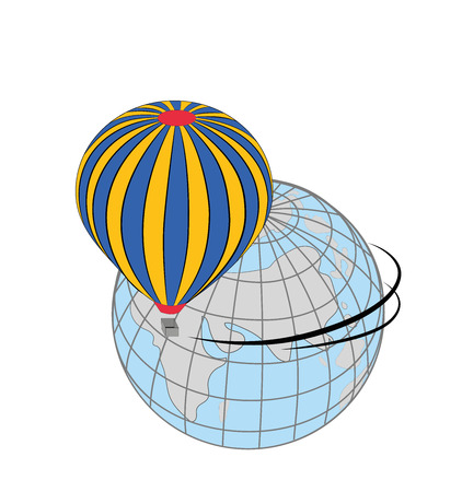 travel around the world in a hot air balloon. concept of travel. vector illustration.