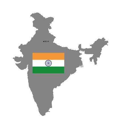 kaart van india met vlag. vector illustratie