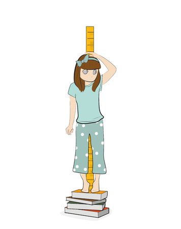 the girl is measuring her height. vector illustration. Illustration
