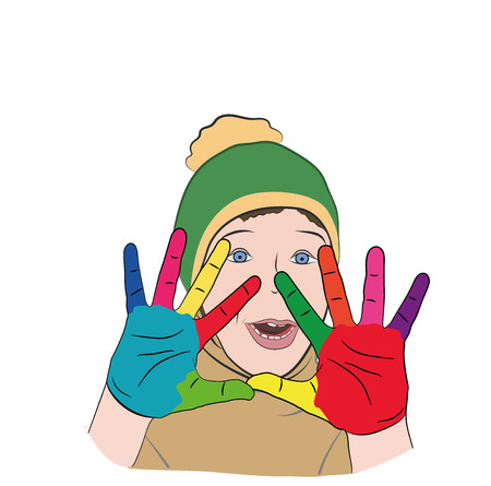 Boy with colorful hand icon.