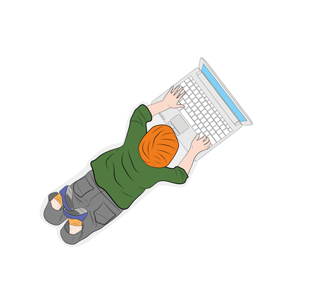 Happy children. View from above. the child works with a computer. vector illustration.