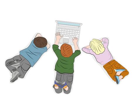 Happy children. Top view. work with computer. vector illustration.
