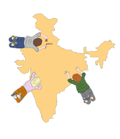 children study the map of India. view from above. vector illustration. Illustration