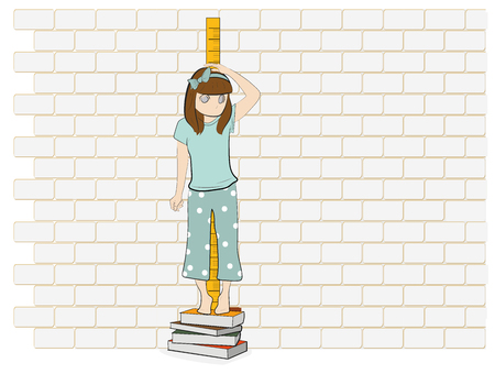 the girl is measuring her height. vector illustration.  イラスト・ベクター素材