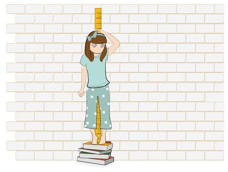 その少女は身長を測っている。ベクトルイラストレーション。  イラスト・ベクター素材