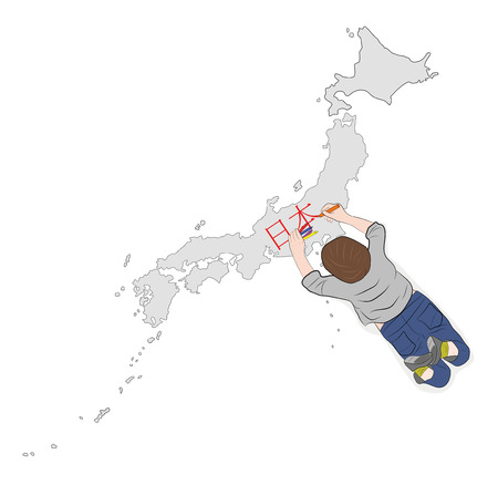 the child writes the word Japan in Japanese on the map. vector illustration.