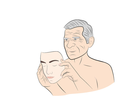 An elderly man dresses a mask with the face of a young guy. concept of rejuvenation. vector illustration. Stock Illustratie