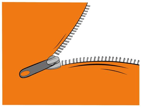 Zipper opens, vector illustration Illustration