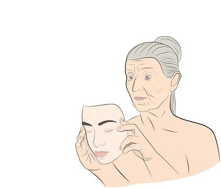 Een oudere vrouw kleedt een masker met het gezicht van een jong meisje. concept verjonging. vector illustratie