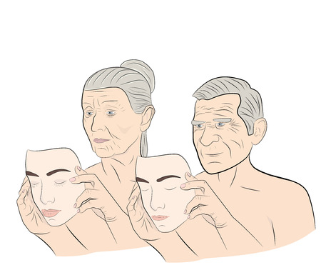 Uma mulher idosa e um homem veste uma máscara com um rosto jovem. conceito de rejuvenescimento. ilustração do vetor