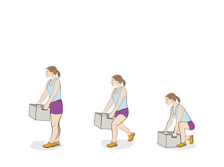 the woman correctly lifts the box. vector illustration.